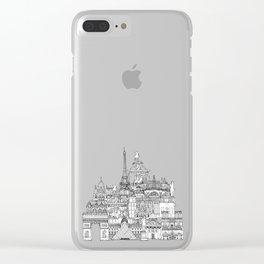 Paris toile raspberry Clear iPhone Case