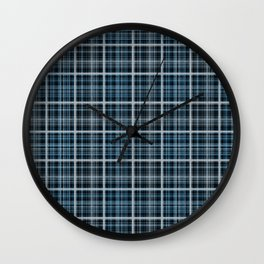 Plaid in blue and gray colors. Wall Clock