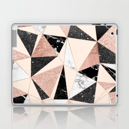 Modern black white marble rose gold glitter foil geometric abstract triangles pattern Laptop & iPad Skin