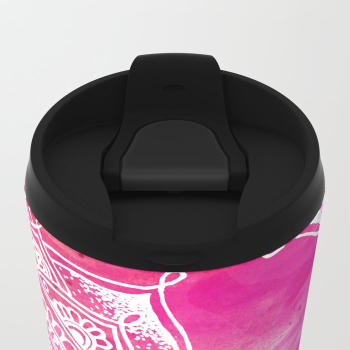 White Mandala on Watercolour Metal Travel Mug