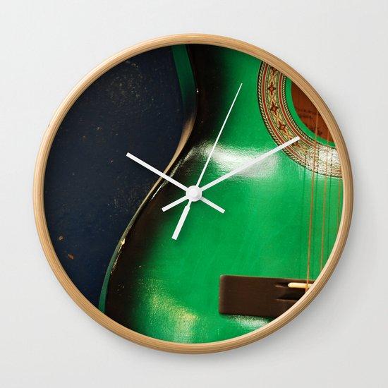Green guitar Wall Clock