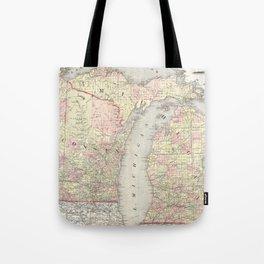 Vintage Map of Michigan & Wisconsin (1862) Tote Bag