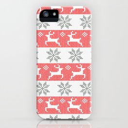 Watercolor Fair Isle in Red & Grey iPhone Case
