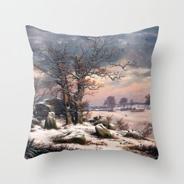 Johan Christian Dahl Winter Landscape Vordingborg Throw Pillow