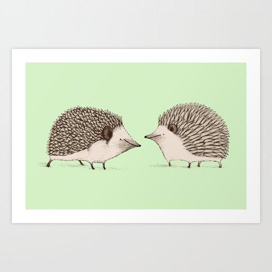 Two Hedgehogs Art Print