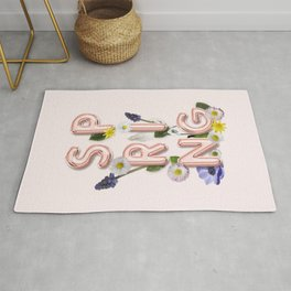 Rose Gold Spring Flower Blush Rug