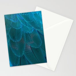 Bright Blue Feathers Abstract Pattern Stationery Cards