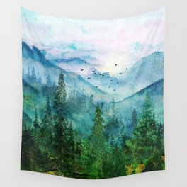 Spring Mountainscape Wall Tapestry