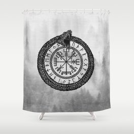 Vegvisir with Ouroboros and runes - grayscale Shower Curtain
