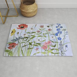 Wildflower Botanical Garden Flower Blue Skies Watercolor Rug