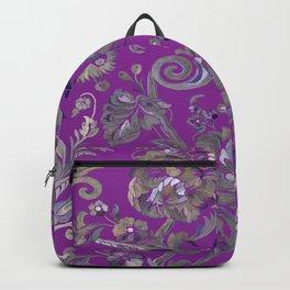 Painted Tibetan Brocade purple Backpack