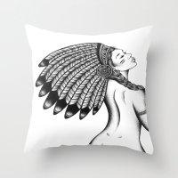 headdress Throw Pillows featuring Headdress  by Cady Bogart