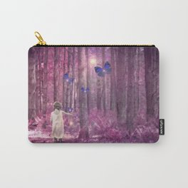 Girl in Bright Purple and Pink Forest with Butterflies Carry-All Pouch