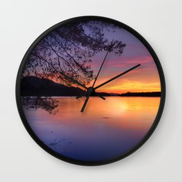 """Color Reflections"". Sunset at the lake. Wall Clock"