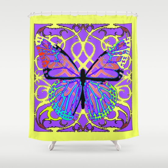ABSTRACT PURPLE YELLOW BUTTERFLY ART Shower Curtain By