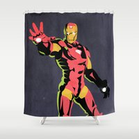 iron man Shower Curtains featuring iron man  by mark ashkenazi