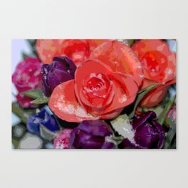 Snow settling on a top of Bouquet of flowers Canvas Print