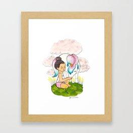Top Knot & Unicorn (snowcone) Framed Art Print