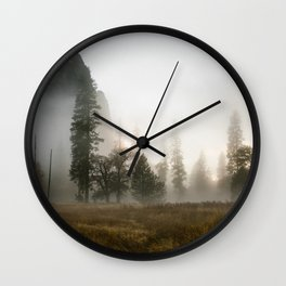 Yosemite Valley in Fog Wall Clock
