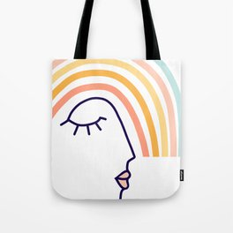 Rainbow Head #lineart Tote Bag