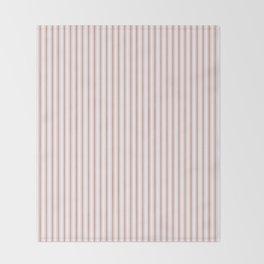 Small Camellia Pink and White Mattress Ticking Stripes Throw Blanket