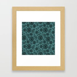 Flowery black Framed Art Print
