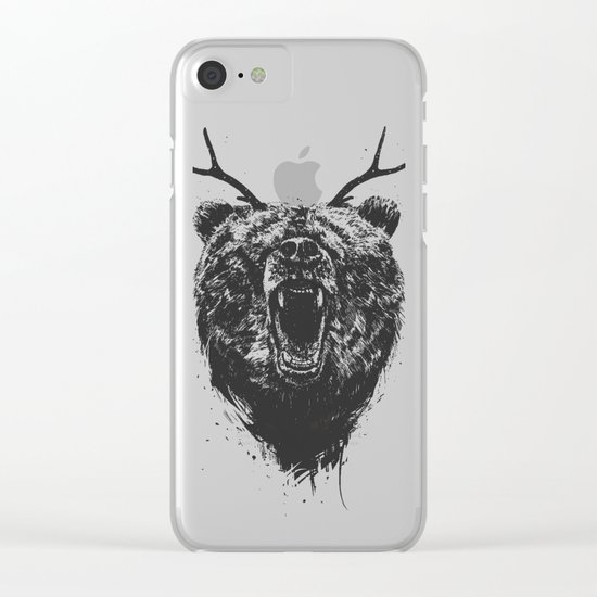 Angry bear with antlers Clear iPhone Case