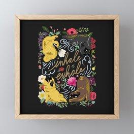Inhale Exhale Pug Yoga Framed Mini Art Print