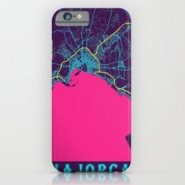 Majorca Neon City Map, Majorca Minimalist City Map Art Print iPhone Case