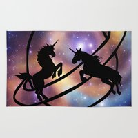 unicorns Area & Throw Rugs featuring Space Unicorns by haroulita