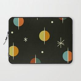 Mid Century Modern Abstract Spheres and Stars Dark Laptop Sleeve