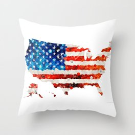 Map of The United States Of America 23 - Sharon Cummings Throw Pillow
