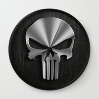 punisher Wall Clocks featuring The Punisher by Andrian Kembara