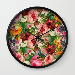 Colorful Floral Pattern | Je t'aime encore Wall Clock