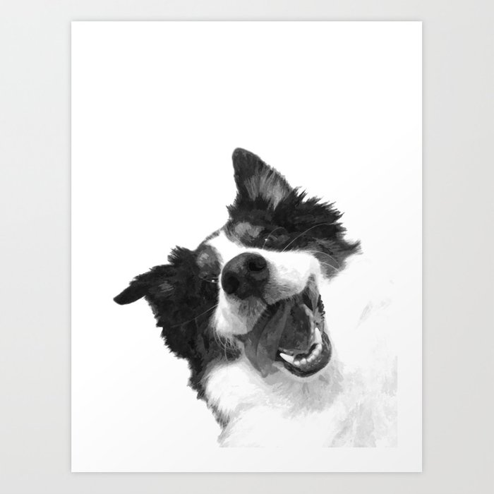 Black and White Happy Dog Art Print by alemi   Society6