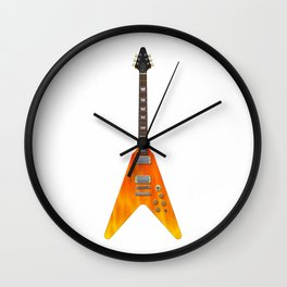 Guitar With Fire Graphics Wall Clock