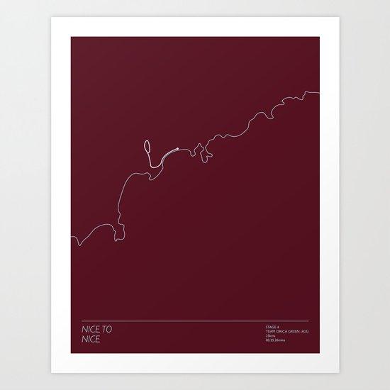 Le Tour De France 2013 Stage 4 Minimal Poster Art Print