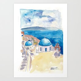 Santorini Oia View Mediterranean Dream Art Print