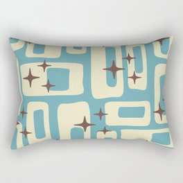 Retro Mid Century Modern Abstract Pattern 576 Blue Brown Rectangular Pillow