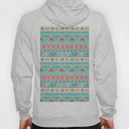 Hand painted teal coral ivory geometrical tribal pattern Hoody