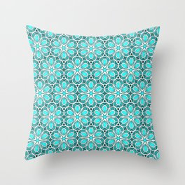 Symmetrical Flower Pattern in Turquoise Throw Pillow