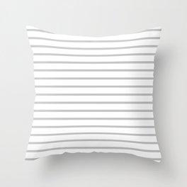 Horizontal Light Grey Stripes Pattern Throw Pillow