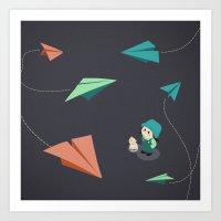 Girl Watching Paper Planes Art Print