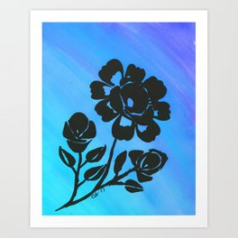 Rose Silhouette with Painted Blue Background Art Print