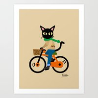 cycling Art Prints featuring Whim's cycling by BATKEI