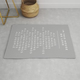 In This House Diversity Acceptance Print - British English - Cobble Grey Rug