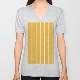 vertical white stripes on sunflower yellow Unisex V-Neck