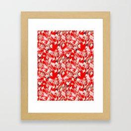 Floral Burst in Red Framed Art Print