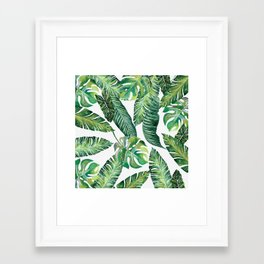 Jungle Leaves, Banana, Monstera #society6 Framed Art Print
