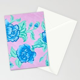 Peony perspective in blue Stationery Cards